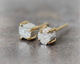 Textured Cylinder Earrings in sterling silver / tiny cylinder studs
