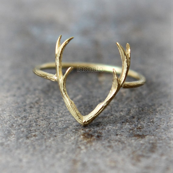 deer antler ring choose your color gold and silver by