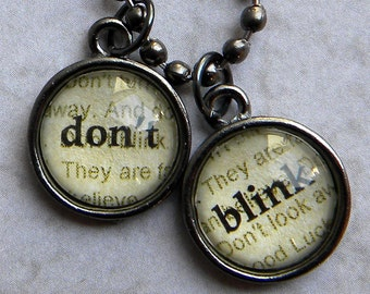Doctor Who Necklace  - DON T BLINK  - Word Necklace  Weeping Angels - Bronze or Gunmetal Doctor Who Jewelry