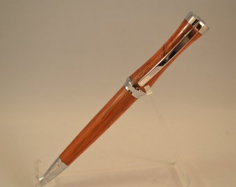 Sleek Sculptured Pen in Chakte Viga with Chrome Accents