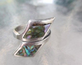 60's Vintage Inlaid Wrap Wide RIng Mexican Sterling 7 1/4