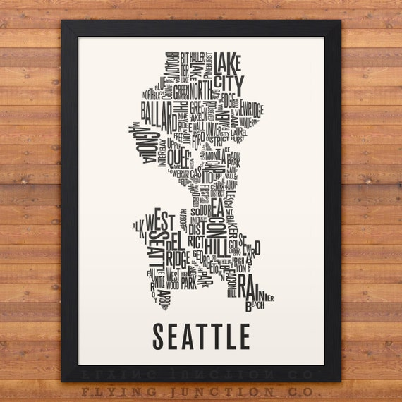 SEATTLE Neighborhood Typography City Map Print by
