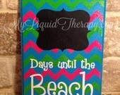 Pink/Green Chevron Beach Chalkboard Countdown Calendar READY TO SHIP