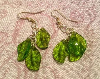 Earrings in Silver and Green