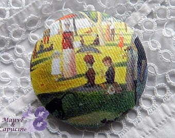 Button out of fabric, printed Seurat