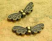 50 pcs Metal Butterfly Beads Antique Bronze Butterfly Charms Spacer Beads 21x7mm CH2183