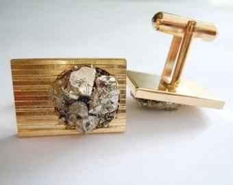 Pyrite Cufflinks // Raw Stone Men Jewelry // Gift For Him