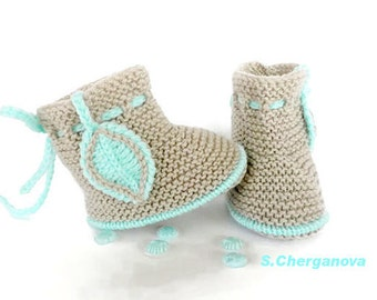 Knitted baby booties, knitted baby shoes, beige baby booties, knitted baby boots, knit baby booties