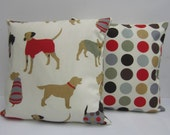 Dog Cushion Covers, Dog Pillow Cases, Dog Pillow Shams, Red, Grey Brown, backed with matching Great Spot Fabric, 16x16 or 18 x 18 Inch