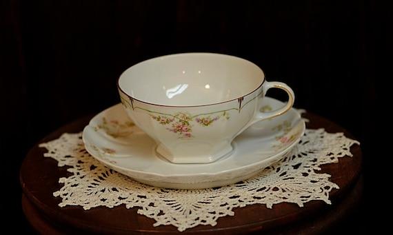3 Vintage Habsburg China Cups Julette & 3 Haviland Limoges Saucers.. Pink Floral