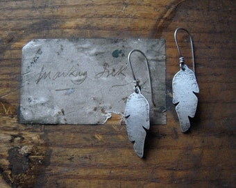 feather earrings, oxidized sterling silver