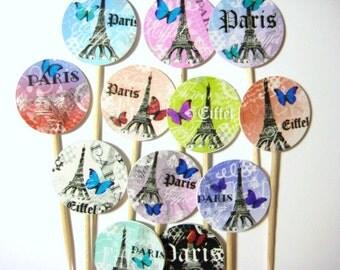 12 Paris Eiffel Tower Party Picks - Cupcake Toppers - Toothpicks - Food Picks - die cut punch FP519