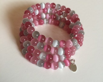 Pink & Gray Memory Wire Braclet