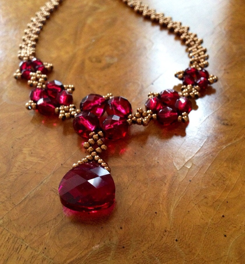 Pink Ruby Jewellery: Elegant Ruby Red Statement Necklace Marsala Necklace Garnet