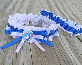 Toronto Blue Jays Inspired White & Royal Blue Satin Baseball Wedding Garter Keepsake Or Bridal Garter Set