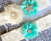 Wedding Garter Bridal Garter TEAL BLUE Garter Set Lace Garter Ivory Rhinestone Crystal Starfish Garter Beach Wedding GR107LX