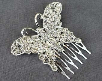 Rhinestone Bridal Hair Comb Wedding Jewelry Crystal Butterfly Wedding Bridal Hair Clip Cinderella CM090LX