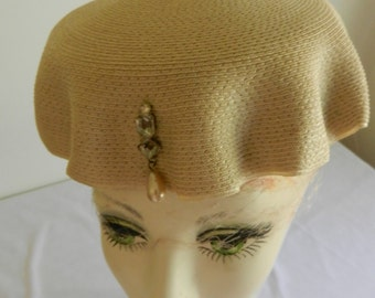 Cream Straw Vintage Pillbox Hat with Bauble by Mandel Bros