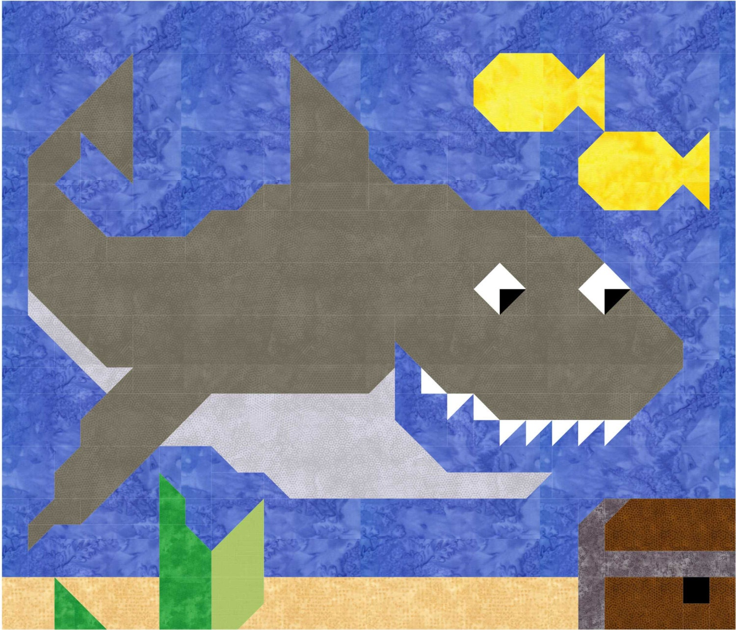 Shark Quilt Pattern With Instructions For 3 Sizes