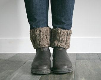 Knit Boot Cuffs Leg Warmers in Barley/THE CALGARY CUFFS