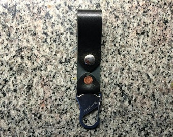 Black Kangaroo Leather Belt Fob with Stainless Steel Key Holder