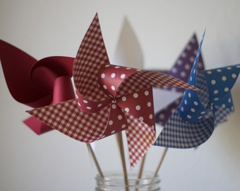 Cow Girl Party GINGHAM Wedding Favors Wedding Decoration 6 large Pinwheels Country Party (Custom orders welcomed)