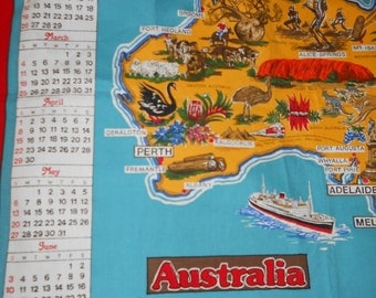 1984 Cotton Blend Painted Fabric Calendar Towel or Wall hanging From Australia