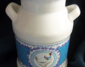 Pretty Little Milk Can Style Vase with A Country Blue Band With a Pretty White Chicken Front And Back, Vintage