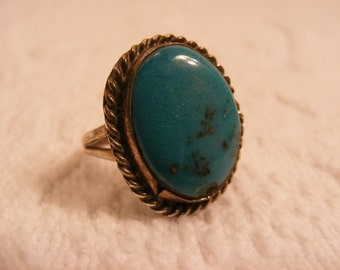 Large Stone Vintage Turquoise Ring Nevada Blue