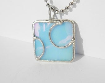 Baby blue square stained glass pendant with wire design free shipping