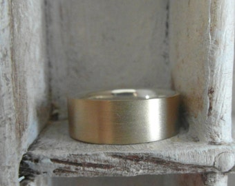 14 K Yellow gold and Sterling Silver-Unisex wedding band- matte finish