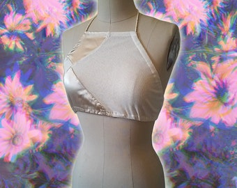 90s Minimal Champagne Satin and White Ribbed Cotton Poly Blend Handmade Halter Top size Small