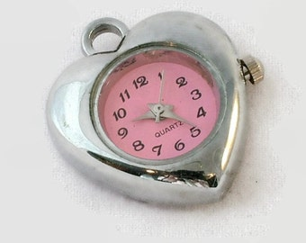 CLEARANCE!  1 Quartz Watch Face pendant/charm, heart shaped Silver Tone with Pink Face |W-049-S-Pk