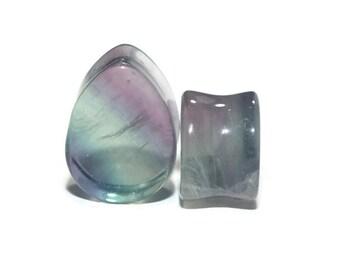 "Fluorite Teardrop Plugs 2g (6mm), 0g (8mm), 00g (9.5mm), 7/16"" (11mm), 1/2"" (13mm) 9/16"" (14mm) 5/8"" (16mm) 3/4"" (19mm) 7/8 (22mm) 1"" (25mm)"