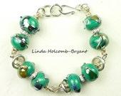 Turquoise Metallic Lampwork Beaded Bracelet