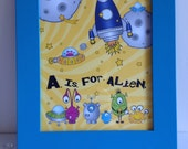 A is for Alien Children's Wall Art - Outer Space - Spaceship - Boys Room Decor - Framable Digital Print - Yellow Blue Green