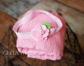 Baby Wrap Set and Baby Headband, Newborn Cheesecloth, Newborn Photo Prop, Newborn Girl Wrap Set, Baby Shower Gift, Pink Cheesecloth Wrap