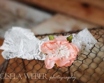 Flower Newborn Tieback, Peach Baby Halo, White Newborn Tieback, Newborn Photo Prop, Peach Baby Headband, Newborn Headband