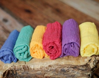 RTS, Rainbow Baby Wraps, Baby Girl Photo Props, Baby Boy Prop, 6 Cheesecloth Baby Wraps, Newborn Props, Photography Props, Baby Girl Props