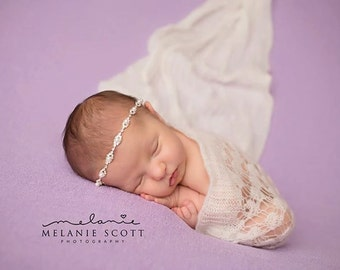 Flower Girl Headband, Baby Rhinestone Headband, Pearl  Headband, Baby Baptism Headband, Rhinestone Newborn Headband, Newborn Photo Prop Girl
