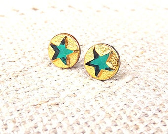 Gold Star Studs Gold And Green Stud Earrings Tiny Gold Stars Stud Earrings Christmas Gift For Her Holiday Gifts Gift Ideas FREE SHIPPING