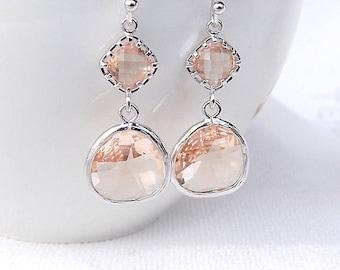 Peach Pink Earrings, Crystal Drop Earrings, Gold Peach Earrings, Coral Wedding, Peach Bridesmaid Earrings, Peach Earrings, Coktail Earrings