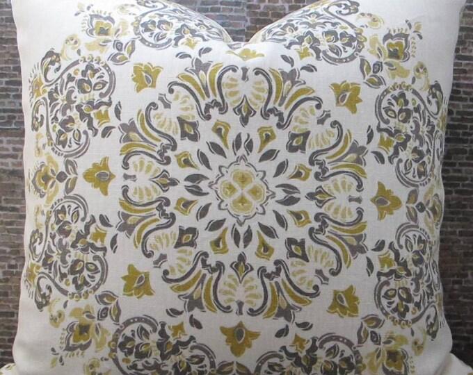 Designer Pillow Cover  20 x 20, 22 x 22, 24 x 24 -  Kravet Medallion Parvani Tumeric