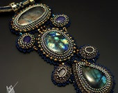 Beadwork,bead embroidery necklace from EXCLUSIVE collection with labradorites, sapphires, lapis lazuli, brass, hematite,Toho &Preciosa beads
