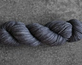 Hand-dyed Charcoal Grey Lace 2 Ply Yarn - Superwash Merino and Silk