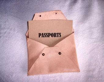 Leather passport sleeve bag, misc travel bag, electronics bag, passport protection