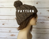 Chunky Ribbed Beanie, Crochet Ribbed Style Beanie Hat PATTERN, Adult Beanie PDF Instant Downlaod