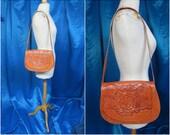 Vintage Mexican Hand Tooled Large Shoulder Bag. Beautiful Roses Design. Saddle Bag. Fold-Over Flap. Long Strap. Design on Back and Front!!