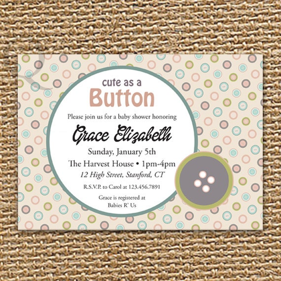 cute as a button baby shower invitation baby shower girl baby