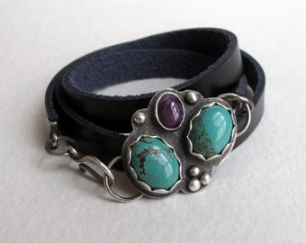 Turquoise and Sugilite Sterling Silver Leather Wrap Bracelet, Jewelry One of a Kind Handmade
